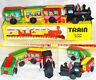 MS203 Vintage Train Engine & Cars Retro Clockwork Wind Up Tin Toy w/Box