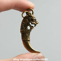 "1.8""Curio Chinese Bronze Auspicious Dragon Head Tooth Shape Small Amulet Pendant"