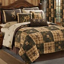 Browning Country 9 Piece TWIN Quilt Comforter Bedding Set - Lodge Log Cabin Logo