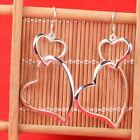 Fashion Silver Plated Double Love Heart Dangle Earrings Drop Dangle Hook Earring
