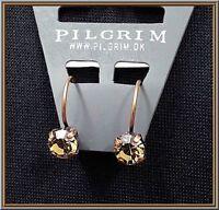 NEW PILGRIM 16K GOLD PLATED HOOP EARRINGS DELICATE BROWN SWAROVSKI CRYSTALS RARE
