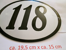 Hausnummer Oval Emaille  schwarze Nr. 118  weißer Hintergrund 19 cm x 15 cm