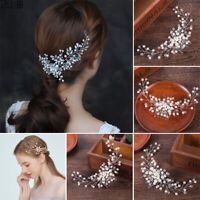 Bride Hair Comb Clip Crystal Flower Faux Pearl Wedding Bridal Hairpin Accessory