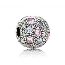 PANDORA Pale Pink Cosmic Stars Clip Charm 791286PCZMX Genuine Authentic