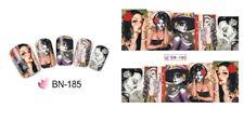 NAIL Art Adesivi Decalcomanie acqua trasferimento adesivi Halloween Teschio Gotico (BN185)