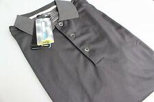 Adidas Climacool Golf Polo Breathable Coolmax UPF15+ Black Self Stripe Large New