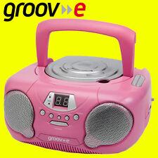 Groov-e gvps713 Rosa Portable Boombox Kids Reproductor De Cd Radio Aux-in libre aux Plomo