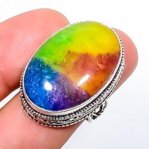 Rainbow Quartz Gemstone 925 Sterling Silver Fine Art Ring s.8 TR4063-507