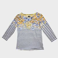 Joules White Blue Yellow Harbour Stripe Floral Jersey Top 8 - B57