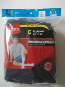 HANES 6-Pack Cushion Crew Socks Cushioned FootBottom, Black Size 6-12