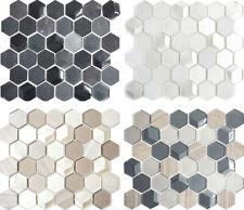 Glasmosaik Naturstein Mosaikfliesen Hexagonal Küchenrückwand grau weiss beige