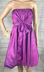 NWT De Laru Collection Formal Dress Size 9/10 Iridescent Purple Satin Strapless