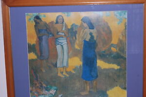 """Large framed & mounted Paul Gauguin print """"3 Tahitians on a Yellow Background""""."""