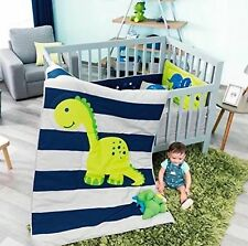 DINOSAUR BABY BOYS CRIB BEDDING NURSERY SET 6 PCS 100% COTTON