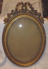 cadre ovale médaillon verre bois et stuc doré noeud style Louis 16 époque XIXe