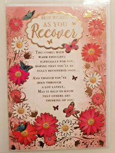 GET WELL CARD WITH BEAUTIFUL WORDS - BEST WISHES AS YOU RECOVER 12 X 18 CMS