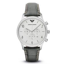Emporio Armani Classic AR1861 White Dial/Gray Leather Quartz Men's Watch