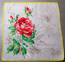 Vtg Batiste Hankie Screened Long Stemmed Red Roses Narrow Yellow Border 1950s
