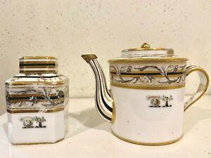 Armorial Porcelain Teapot and Tea Caddy Set Gold Trim