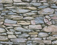 REALISTIC GREY BEIGE BRICK DRY STONE WALL FEATURE WALLPAPER A.S.CREATION 95820-1