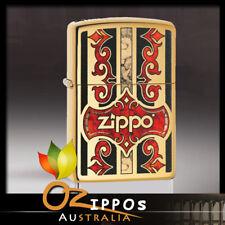 "Zippo ""Logo"" High Polish Brass Fusion Finish Lighter, 29510  -- Free Shipping"