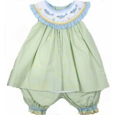 Adorable Green Aqua Petit Ami Smocked Dophin Girl Boutique Set, Angel Sleeve