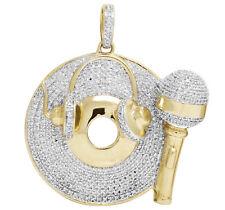 "Real 10K Yellow Gold Genuine Diamond Headphone Mic Disc Pendant Charm 1 Ct. 1.5"""