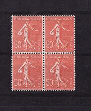VARIETE  Semeuse lignée 50c rouge  faux de Marseille num: 199 n ** bloc de 4