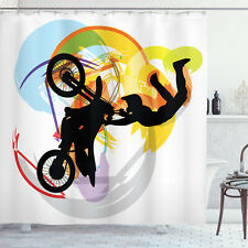 Extreme Sports Shower Curtain Motocross Rider Print for Bathroom