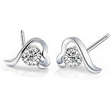 Austria Crystal AAA CZ Zircon Heart Engagement Earrings Studs 18K White Gold GP