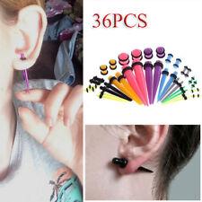 36PCS Ear Stretching KIT Acrylic Taper & Plug Ring Ear Piercing Expander