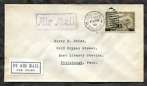 p1169 - MONTREAL 1936 Airmail Cover to USA. Unusual White Etiquette / Label