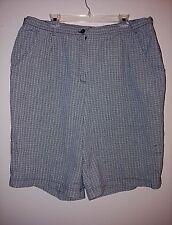 STUDIO WORKS Women's Size 24W 100% Cotton Plaid Shorts Pockets Black Gray Zipper