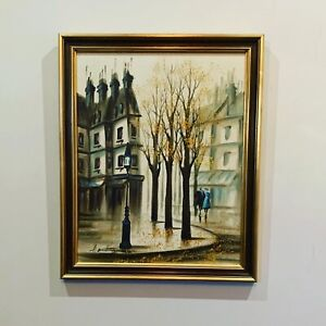 VINTAGE Paris Streetscape Mid Century Artwork By Arthur Armstrong CAN BE MAILED
