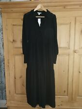 Topshop - Tiered Long Sleeve Black Maxi Shirt Dress Size 12