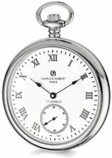 Charles Hubert Stainless Steel Open Face White Dial Pocket Watch