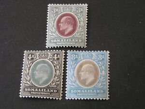 SOMALILAND PROT. SCOTT # 44/45(2)+47, 3a+4a+8a(3) VALUES 1905 KEVII  ISSUE MH