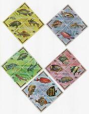 1974 Burundi Tropical Fish Plate Blocks Assortment Scott 449-453 Gorgeous!