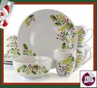 Set Dinnerware 12 Pc Dishes Plate Bowl Classic Winterberry Holiday Christmas New