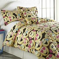 SPIRIT LINEN HOME TW Emoji Four-Piece Comforter Set, Twin, Black