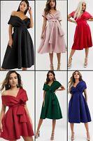 ASOS™ DESIGN $113 VELVET Fallen Shoulder Prom Dress with Tie Detail-GREEN/BLACK
