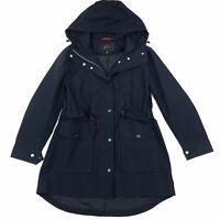 NWOT J. Crew Women's Navy Blue Hooded Snap Botton Zip Perfect Rain Jacket Sz XSP