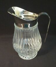 Vtg Ribbed Pressed Glass Water/Tea Pitcher SilverPlated Ice Catcher Spout ~Italy