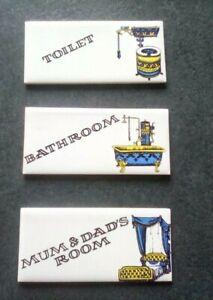 VINTAGE CERAMIC DOOR NAME PLAQUE x 3 - TOILET / BATHROOM / MUM & DAD'S ROOM