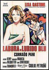 LABBRA DI LURIDO BLU MANIFESTO CINEMA PETRONI LISA GASTONI 1975 MOVIE POSTER 4F