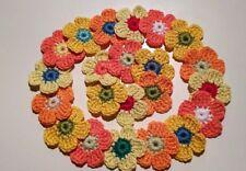 10 Applikationen Häkelblumen 4cm gehäkelt Blüten Aufnäher Gelb,Orange,Koralle