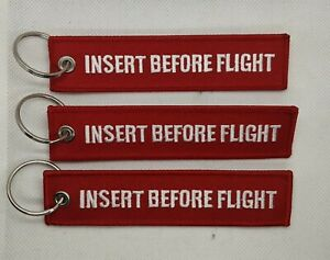 Insert Before Flight - Embroidered Key Chain - Luggage Tag