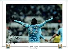 Carlos TEVEZ Signed Autograph 16x12 Manchester City Photo AFTAL COA