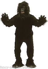 Mens Ladies Black Gorilla Suit Monkey Festival Stag Fancy Dress Costume Outfit