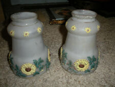 2 Antique embossed glass Lamp shades hand painted White 1850 Forbestown Hotel CA